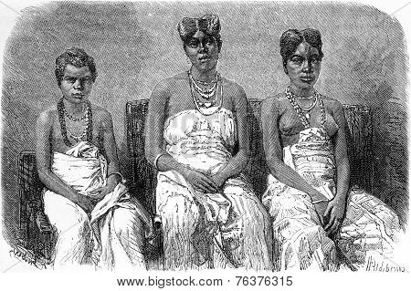 The Daughters Of King Louis, Vintage Engraving.