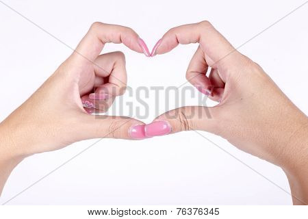 Woman Hands In The Form Of Little Heart Isolated On White Background