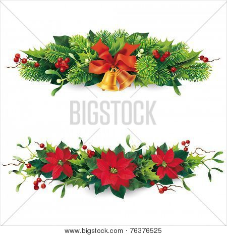 Christmas garlands on white. Vector eps 10.