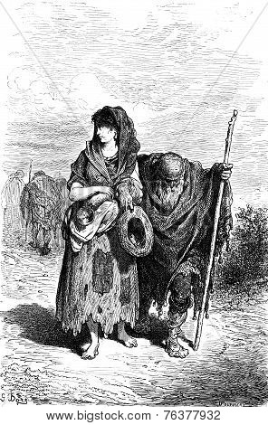 A Centennial And Her Granddaughter Beggar In Berja, Vintage Engraving.