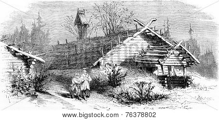 House (hut) In The North Of Russia, Vintage Engraving.