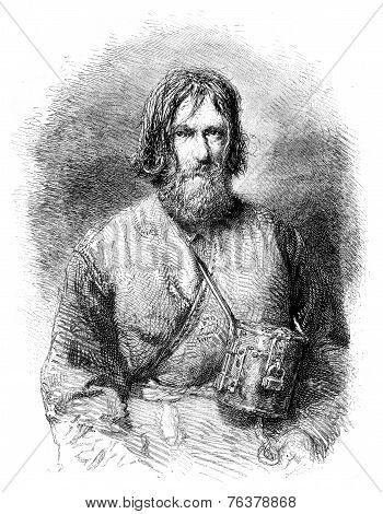 Pilgrim Beggar, Vintage Engraving.