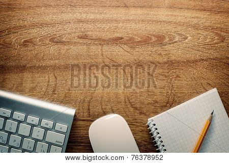 Devices, Pencil And Notes On Desk With Copy Space