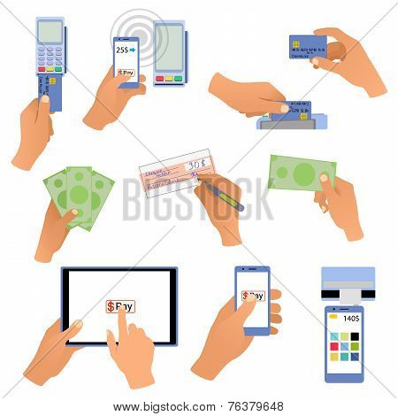 All for business payments human hands holding credit cards, POS terminal, redit cards and check, onl