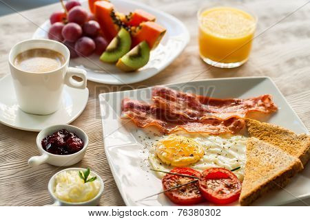 Continental Breakfast With Fresh Fruit And Coffee.