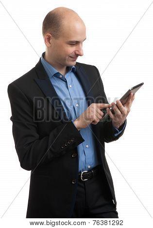 Bald Man With Digital Tablet