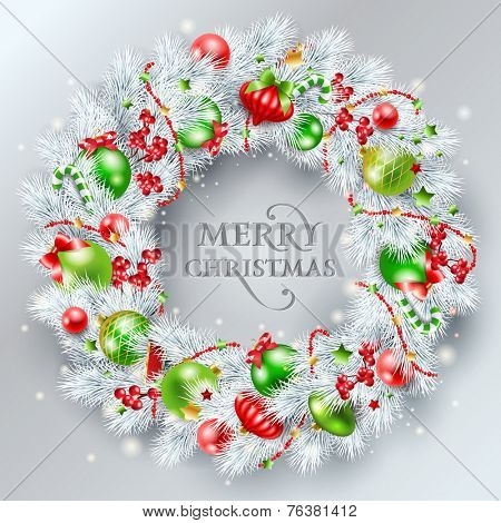 Christmas decoration. The wreath made of white pine branches with red and green balls. Vector illustration.