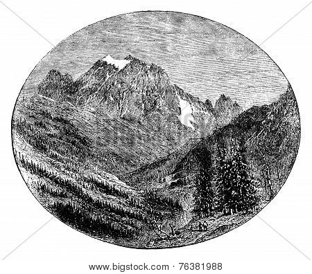 Mount Pelvoux Given The Bessee, Vintage Engraving.