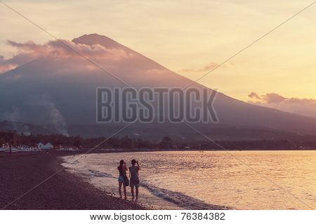 Volcano Agung and Amed beach, Bali, Indonesia