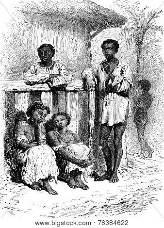 Natives Of The Magdalena, Vintage Engraving.