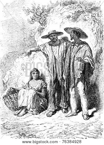 Peasants In The Valley Of Medellin, Vintage Engraving.