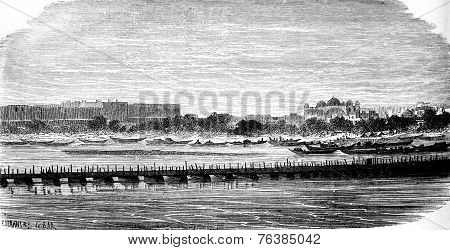 The Jumna, Agra, Vintage Engraving.