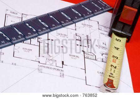 Measuring Tape and Ruler on house floorplan
