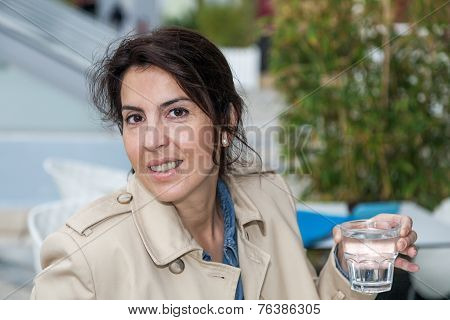 Working Woman Drinking A Glass Of Water