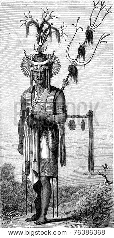 Native Timor, Vintage Engraving.