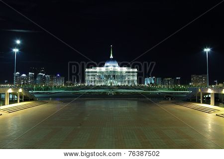 Ak Orda Presidential Palace In Moonlit Night. Kazakhstan. Astana.
