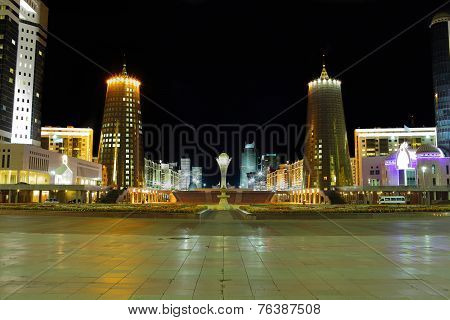 Central Part Of Astana In The Night. Kazakhstan.