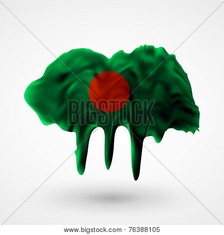 Flag of Bangladesh painted colors