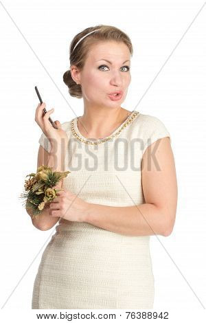 Woman in white dress with mobile, isolated