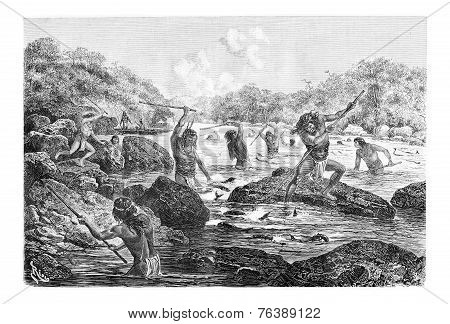 Natives Spearing Fish Trapped In The Rocks In Oiapoque, Brazil, Vintage Engraving