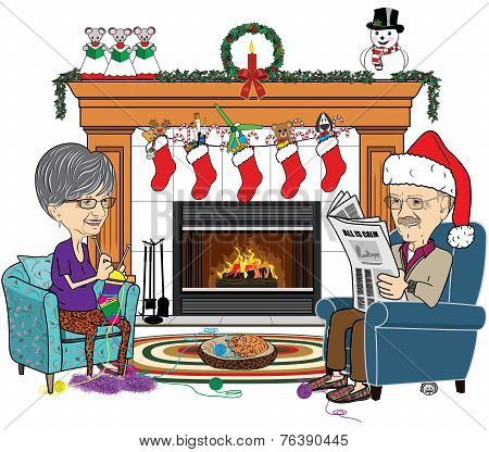 Christmas Scene of a Senior Man and Woman in Front of Fireplace.