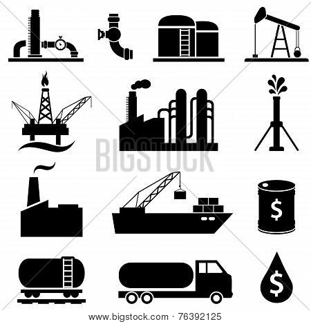 Oil Petrol Icon Set