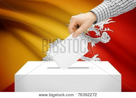 Voting Concept - Ballot Box With National Flag On Background - Bhutan
