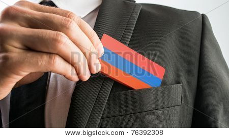 Wooden Card Painted As The Armenian Flag