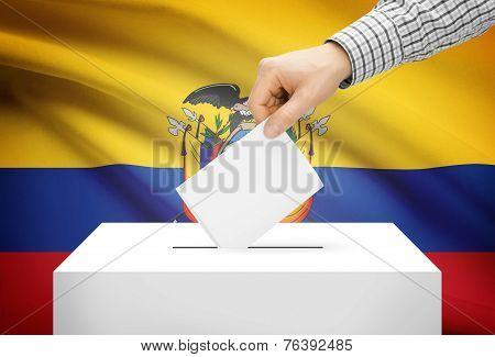 Voting Concept - Ballot Box With National Flag On Background - Ecuador