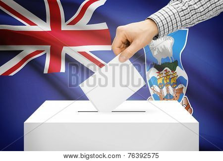Voting Concept - Ballot Box With National Flag On Background - Falkland Islands