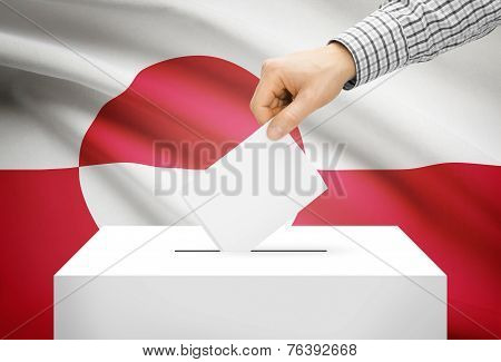 Voting Concept - Ballot Box With National Flag On Background - Greenland