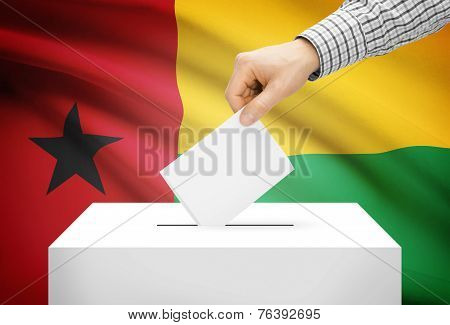 Voting Concept - Ballot Box With National Flag On Background - Guinea-bissau