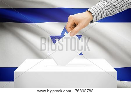 Voting Concept - Ballot Box With National Flag On Background - Israel