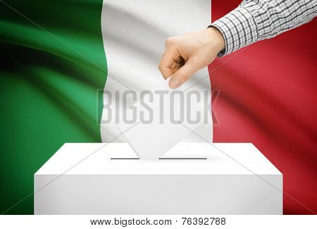 Voting Concept - Ballot Box With National Flag On Background - Italy