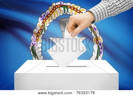 Voting Concept - Ballot Box With National Flag On Background - Northern Marianas