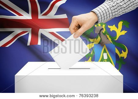 Voting Concept - Ballot Box With National Flag On Background - Pitcairn Island