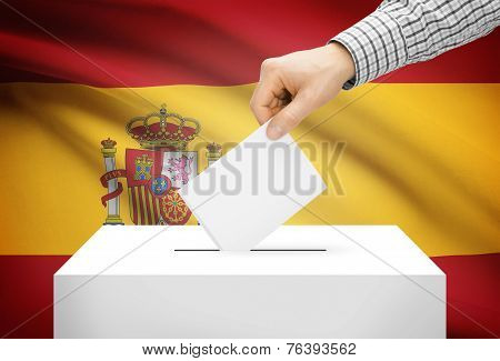 Voting Concept - Ballot Box With National Flag On Background - Spain