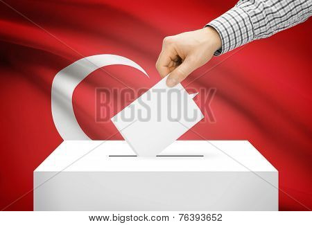 Voting Concept - Ballot Box With National Flag On Background - Turkey