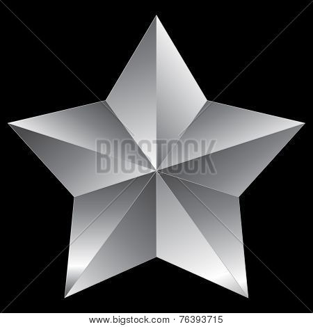 Christmas Star Silver Isolated On Black