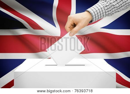 Voting Concept - Ballot Box With National Flag On Background - United Kingdom