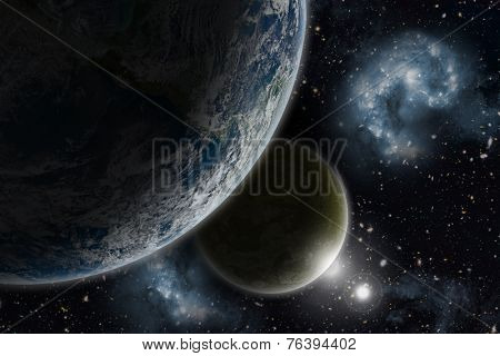 Space background with Earth and nebula in starry sky - elements of this image furnished by NASA