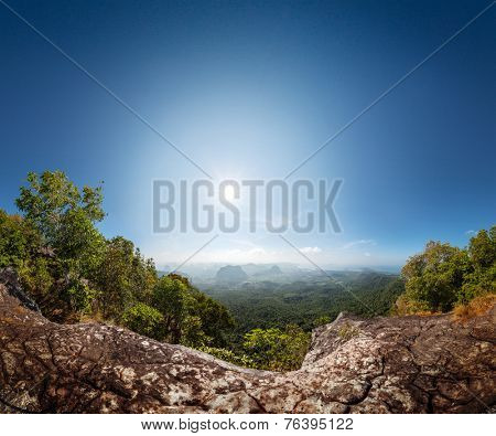 Panorama of the valley with limestone mountains. Krabi province of Thailand
