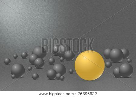 Ball With One Gold Ball And Metal Background