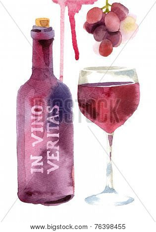 Bright watercolor wine design elements (in vino veritas - verity in wine)