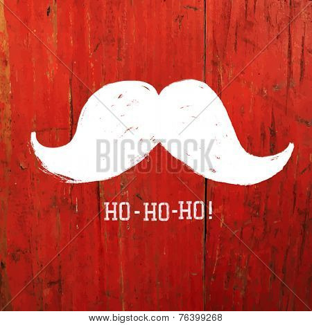White Santa's Moustache and Ho-Ho-Ho! words. Christmas funny card design