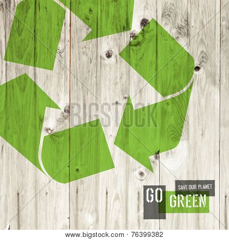 Reuse sign on wooden texture, vector template