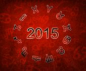 foto of zodiac sign  - 2015 Zodiac chart circle with zodiac signs on the red grunge background - JPG