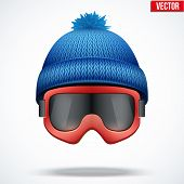 picture of knitted cap  - Knitted woolen blue cap with snow goggles - JPG