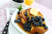 stock photo of french toast  - French Toast and Blueberries in breakfast setting - JPG