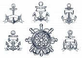 pic of sail ship  - Vintage marine and nautical icons with ships anchors with blank entwined ribbon banners and a ships wheel with anchors - JPG